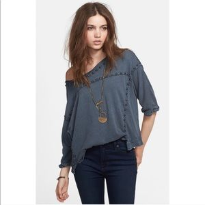 Free People studded Dillon top in blue